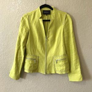 Lafayette 148 New York Green Leather Trim Jacket
